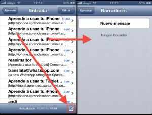 Acceso a borradores en la app de correo