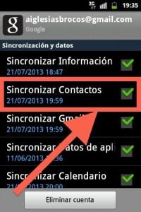 Paso Android 4 Nos tenemos que asegurar que los contactos estan activos y sincronizados