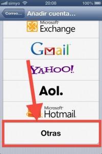 Paso iOS 2 Seleccionamos otras dentro de los tipos de cuentas para anadir
