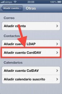 Paso iOS 3 Seleccionamos CardDAV para el tipo de cuenta
