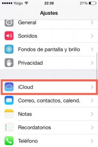Paso 1 Ajustes buscar iCloud