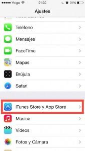 Paso 1E Buscamos dentro de Ajustes la opcion de iTunes Store