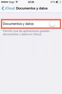 Paso 2 Desactivar documentos dentro de icloud