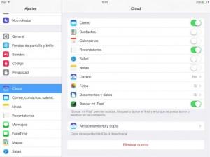 Vamos a ajustes iCloud y desactivamos Buscar mi iPhone iPad iPod Touch